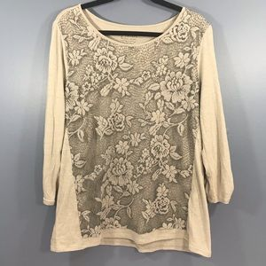 Chico's Lace-front Blouse.  Size 2. 3/4 sleeves.